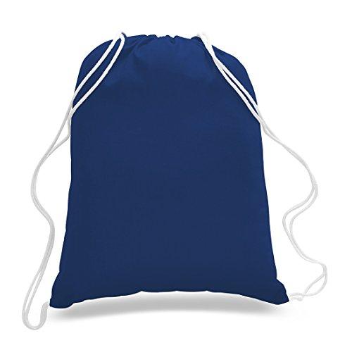 (12 Pack) 1 Dozen- Durable Cotton Drawstring Tote Bags (Royal) ()