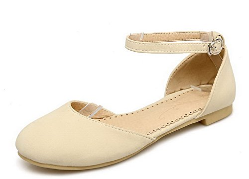 Buckle Closed Pu Heels Beige Toe Solid VogueZone009 Women Low Sandals qwRZtIZ4W
