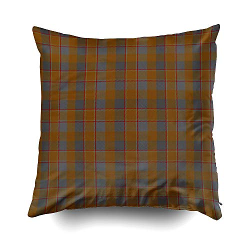 EMMTEEY Home Decor Throw Pillowcase for Sofa Cushion Cover, Halloween Scottish Clan Jardine Tartan Outdoor Decorative Square Accent Zippered and Double Sided Printing Pillow Case Covers -