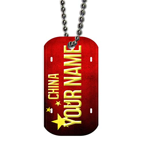 BRGiftShop Personalize Your Own License China Flag Coutry Plate Single Sided Metal Military ID Dog Tag with Beaded Chain