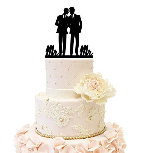 Same Sex Gay Mr & Mr Wedding Anniverary Cake Topper (mr mr(Black)) by Uniquemystyle