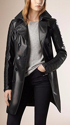 Leather-Hubb-Womens-New-ZELAND-Lambskin-Walking-Leather-LongTrench-Coat-Overcoat-Jacket