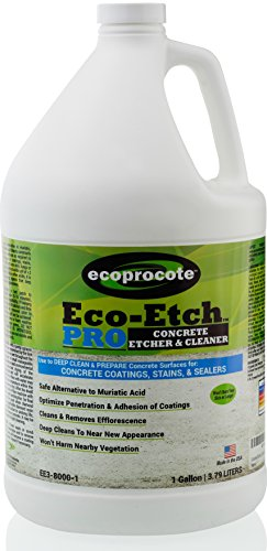 Eco-Etch Pro Concrete Etcher, Concrete Cleaner & Efflorescence Remover, Non Toxic Acid Etch That Won't Fume or Burn Skin, A Safe Muriatic Acid Cleaner Alternative