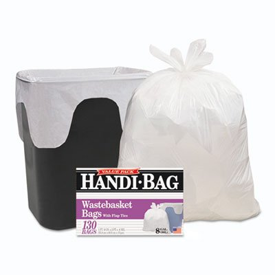 Handi-Bag Super Value Pack, 8gal, .55mil, 22 x 24, White, 130/Box, Sold as 1 Box