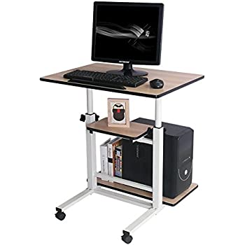 Rolling Laptop Table Adjustable Computer Stand Table Workstation (white) from Poarmeey