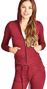 ToBeInStyle Women's Activewear Hooded Jacket & Pants - Dark Burgundy - Medium