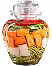 Aosnttol Glass Jar with Lid Pickle Jar, Fermenting Kit Crock with Water Seal Airlock Lid, Fermentation Jar for Pickles Kimchi, Wine Brewing, Sauerkraut, Kombuch Vegetables Paocai Jar Pot, Thick 2.5L