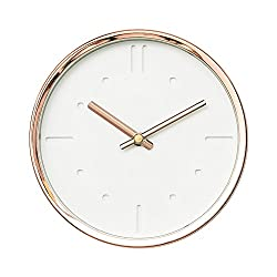 Modern Design Scandinavian 6 Silent Non-Ticking Sweep Movement Desktop Clock, Table Clock, Wall Clock with Rose Gold Frame (White on White)