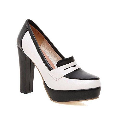 Balamasa Femmes Plate-forme Talons Chunky Couleur Correspondant Fond Épais Talon Imité En Cuir Pompes-chaussures Blanc