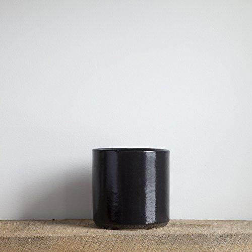 White Modern Ceramic Houseplant Planter Pot Holds a 6 Inch Diameter Plant (Black)