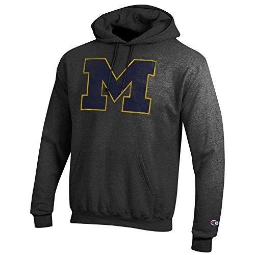 Michigan Wolverines Vintage Hoodie Sweatshirt Heather Gray - M - (Wolverines Hoodie)