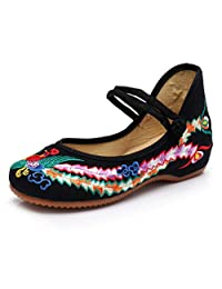 YunPeng Chinese Traditional Embroidery Flats Shoes Women's Girl Mary Jane Ballet Yoga Shoes Rubber Sole