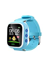 Abory Kids Smart Watch Bluetooth Sweatproof Wristwatch With GPS Positioning for iPhone/Android System Smart Phone (Blue)