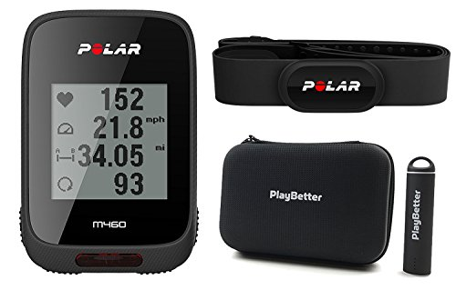 Polar M460 HRM Bundle with Chest Strap HRM, PlayBetter Portable USB Charger, Hard Carrying Case & Bike Mount POWER BUNDLE | GPS Cycle Computer, Strava Live Segments, Smart Notifications