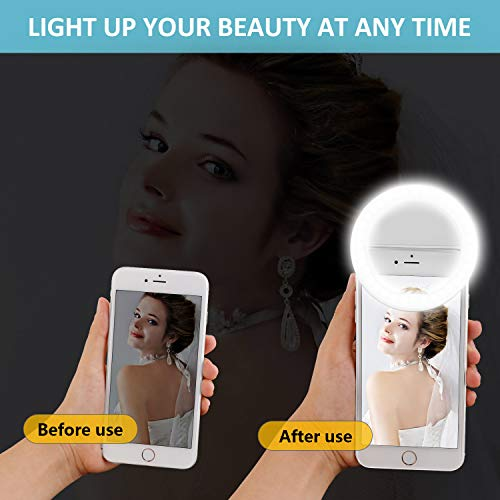 Fodizi Selfie Clip On Ring Light for Smart Phone Camera iPhone iPad Androids Vlogging on Instagram Facebook YouTube - 36 Rechargable LED Phone Light by Fodizi (Image #2)
