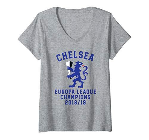 Womens Chelsea Soccer Jersey Europa Champions Blues Gift V-Neck ()