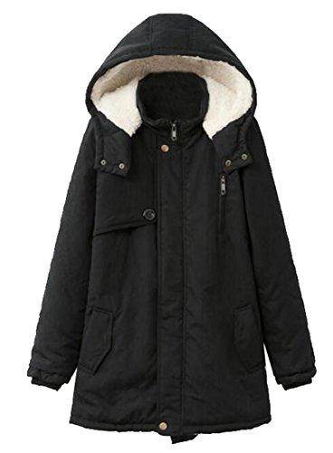 ARTFFEL-Women Plus Size Parkas Jacket Hooded Winter Faux Fur Lined Coat Black ()