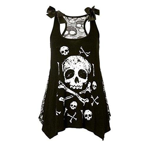 Skull Tank Dress - Feel Show Women's Sleeveless Lace Skull Print Tank Top Dress See Through Back Mesh Cami Dress