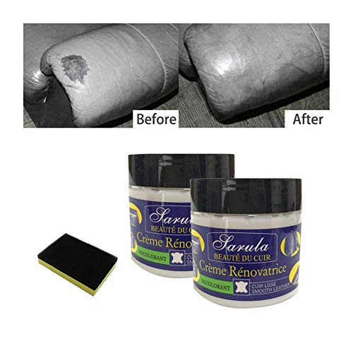 2PCS Leather Restoration Cream with Sponge,Leather Repair Filler,100% Natural Non-Toxic Formula Kit Will Restore and Repair Dry Leather in The Home,Furniture, Car Seats,Couch Etc Repair (Multicolor)