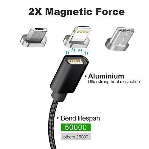 Magnetic Cable,3-in-1 Magnetic Lighting USB Cable and Type C Cable,Micro USB Cable,Fast Charging,Nylon Braided Sync Cord with High Speed Data Transfer for iOS Android Systems (Black 1)