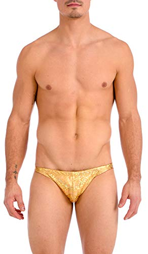 (Gary Majdell Sport Men's Print Contour Pouch Ultra Greek Bikini Swimsuit (Medium, Ice Gold))