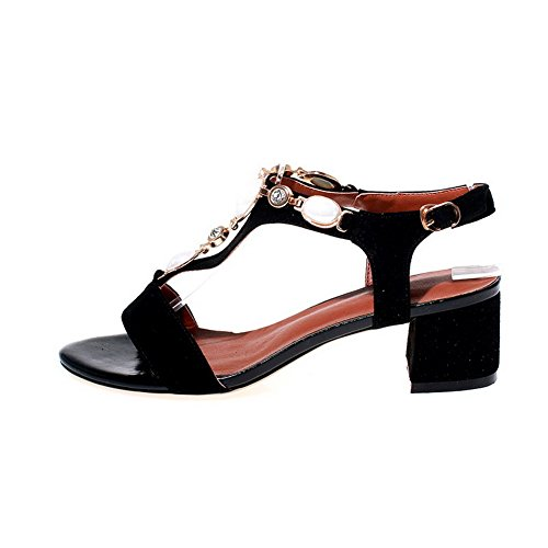 Solid Sandals AllhqFashion Open Buckle Heels Toe Black Womens Kitten Frosted x0SFZwS7qg