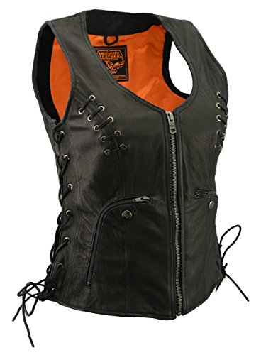 Ladies Zipper Front Side Lace Vest w/Front & Back Lacing Accents (Medium)