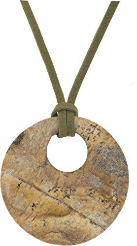 Unisex Pendant, Gemstone Landscape Donut 45mm Pendant + Faux Leather Cord + FREE GIFT BAG (45mm Donut Pendant)