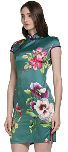 Samurai JP Chinese Cheongsam Dress for Women (Vintage Tussah Silk Qipao Series) with Original Flower Hair Clip (US M-L Size (Asia XL), Traditional Celadon Green)