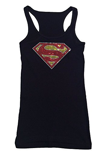 Women's T-Shirt with Superman in Rhinestones (3X, Black Tank Top)