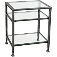 SEI CK8772 Metal Square End Table Distressed Black Finish & Tempered Glass Top