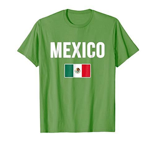 Mens Mexico T-shirt Mexican Flag . Medium Grass -