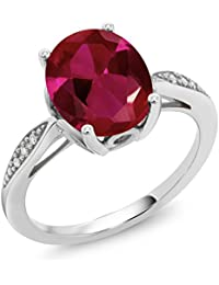 2.54 Ct Oval Red Created Ruby White Diamond 14K White Gold Ring
