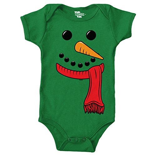 Snowman Face - Christmas Bodysuit (12 Months, KELLY GREEN) - Tuxido Suit