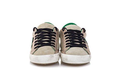 Philippe Model Herren Schuhe Sneakers Aus Wildleder und Leder Paris Beige