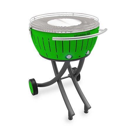 Lotusgrill XXL mit Raeder - Gruen - Mit Holzkohle und Feueranzuender gel Lotusgrill 2,5Kg und Stahl Kochzange