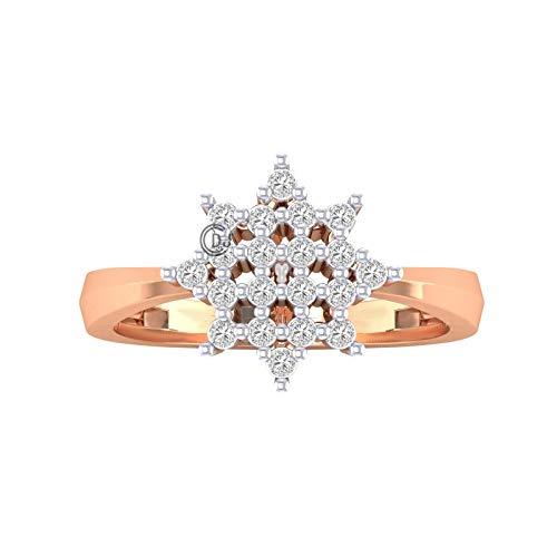 14k Gold - Silver Pave Beautiful Cut Diamond Star Shape Diamond Ring