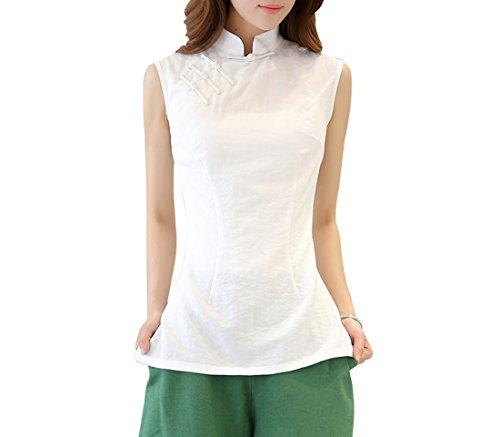 Nation Femme Tang Acvip Manche Veste Sans Blanc Top De T shirt 48wwAngq