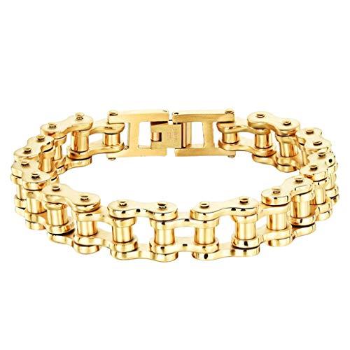 sakd, Bicycle Chain Bracelet for Men Motorcycle Bike Chain Bracelets Mens Bikers Bangle Bike Link Wristhand Chain Boys Velantine's Day Gifts (D) (Gift Velantine)