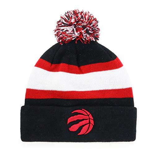 OTS NBA Toronto Raptors Male Rush Down Cuff Knit Cap with Pom, Black, One Size
