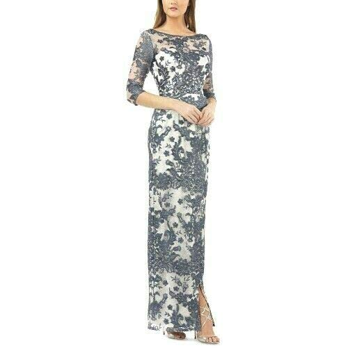 JS Collections Womens Lace Faux-Wrap Evening Dress Navy ()