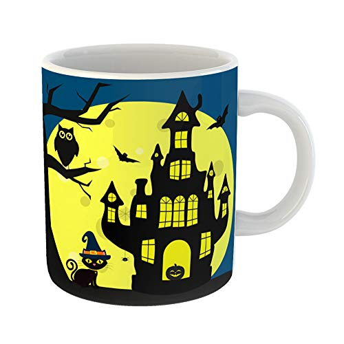 Emvency Coffee Tea Mug Gift 11 Ounces Funny Ceramic Happy Halloween the Cat in Witch Hat Sits Next to House Tree Owl Flying Gifts For Family Friends Coworkers Boss -