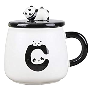 Cute Animal 3D Ceramic Mug,Cute Animal, huggingpandawithlove, Stoneware Coffee MugWithLovely 3D PandaLid And StainlessSpoon,14 oz
