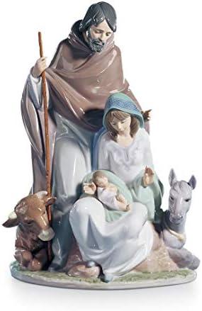 LLADR Joyful Event Nativity Figurine. Porcelain The Holy Family Figure.
