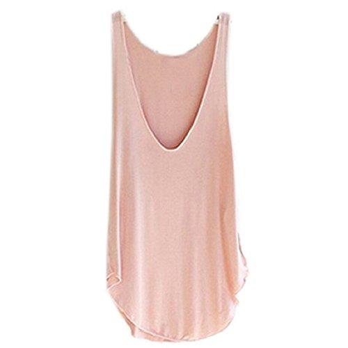 Ularma 2016 moda verano Dama de mujer sin mangas con cuello en v chaleco caramelo sueltas blusas camiseta Rosa