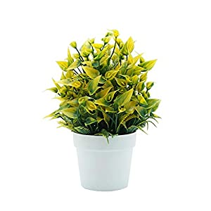 helegeSONG Fake Flowers Silk Plastic Artificial Plant 1Pc Artificial Calla Flower Mini Potted Plant Bonsai Office Home Desktop Decor for Home,Office,Wedding,Garden, Gift, Desk, Hotel - Yellow 27