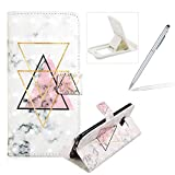 Wallet Leather Case for Galaxy S8,Flip Case for Galaxy S8,Herzzer Fashion Luxury 3D Special Effects Triangle Marble Print Magneic PU Leather Stand Cover with Soft Rubber