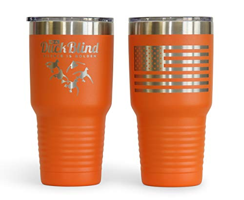 Thomas And Son Designs Waterfowl Hunting Gift 30 oz Stainless Steel Double Wall Insulated Double Engraved Tumbler Silence Orange -