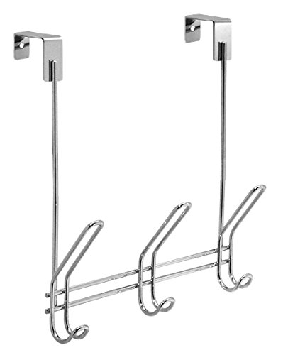 InterDesign Classico Over Door Storage Rack - Organizer Hooks for Coats, Hats, Robes, Clothes or Towels - 3 Dual Hooks, Chrome