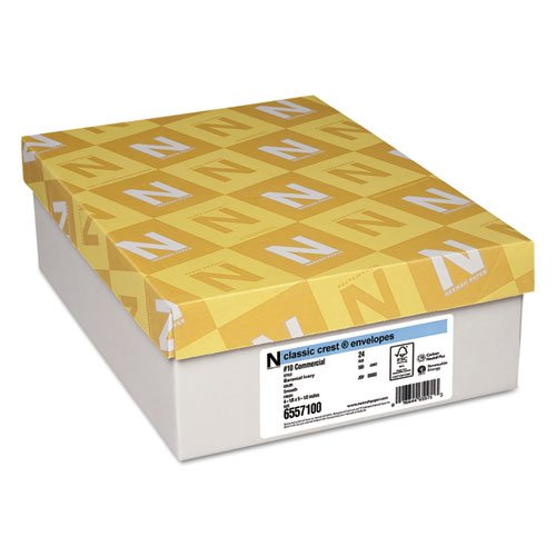 Envelopes Classic Crest Paper - Neenah Paper 6557100 Classic Crest No. 10 Envelope, Traditional, Baronial Ivory, 500-Box